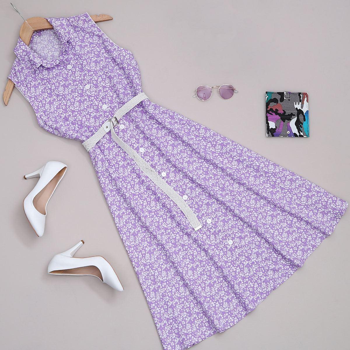 Lila Çiçekli Elbise ELB365