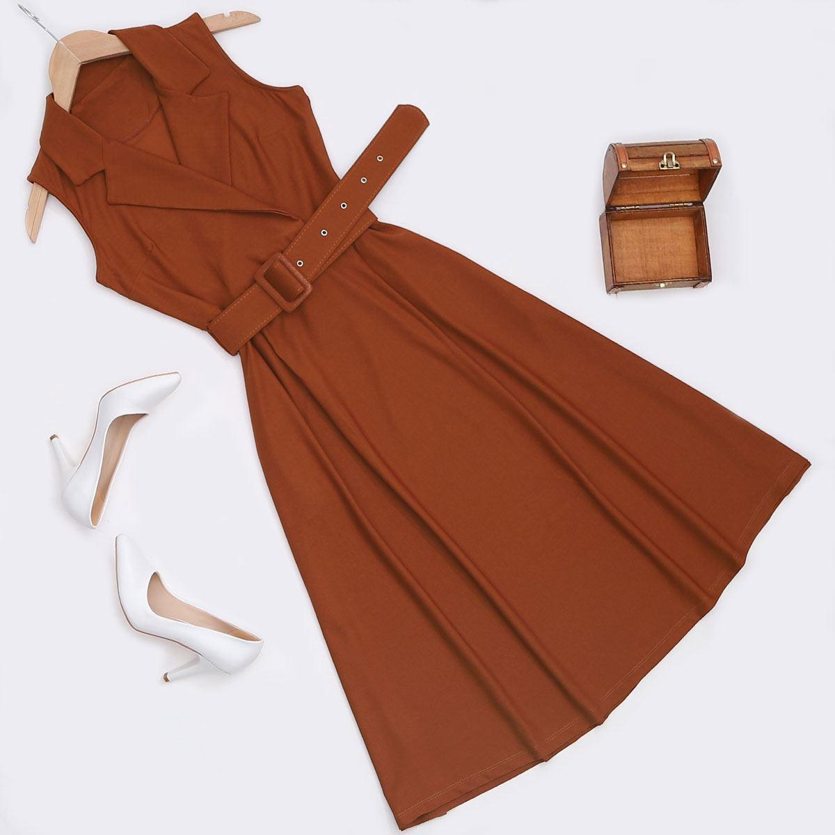 Tarçın Kruvaze Kemerli Elbise ELB366