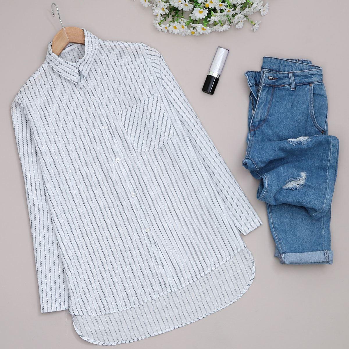 Beyaz Desenli Gömlek GML018