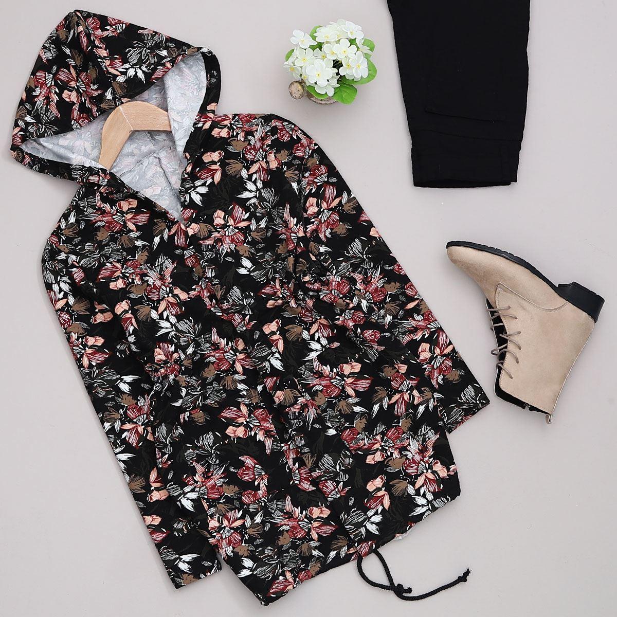 Siyah Çiçekli Ceket CKT111
