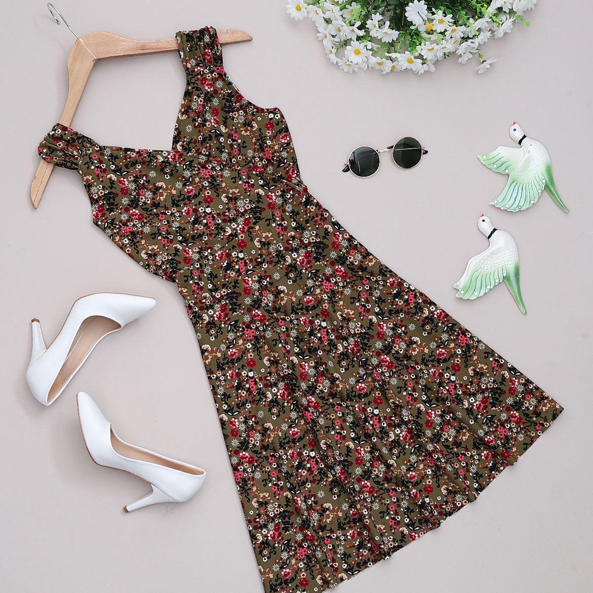 Haki Çiçekli Elbise ELB369