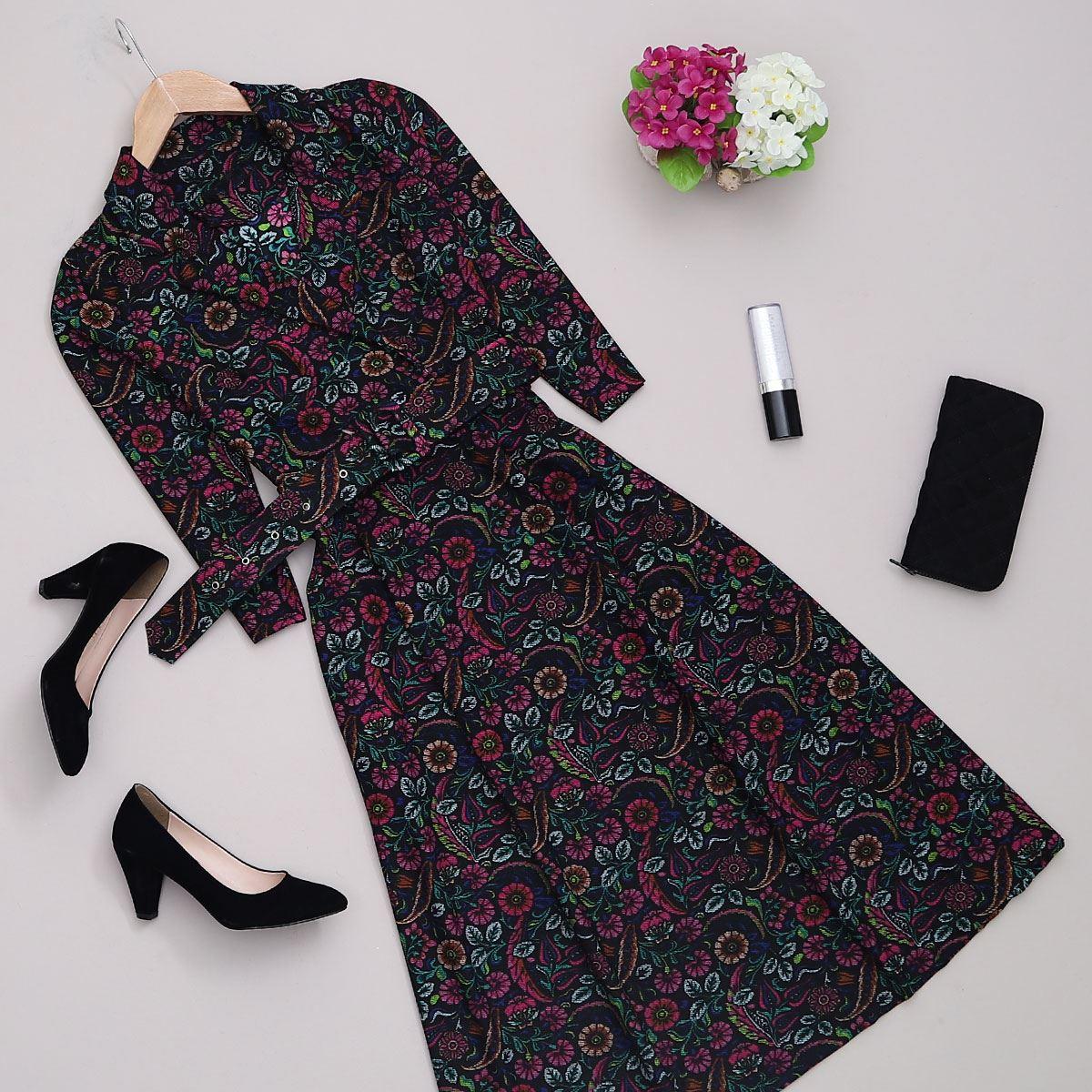 Siyah Çiçekli Kemerli Elbise ELB372
