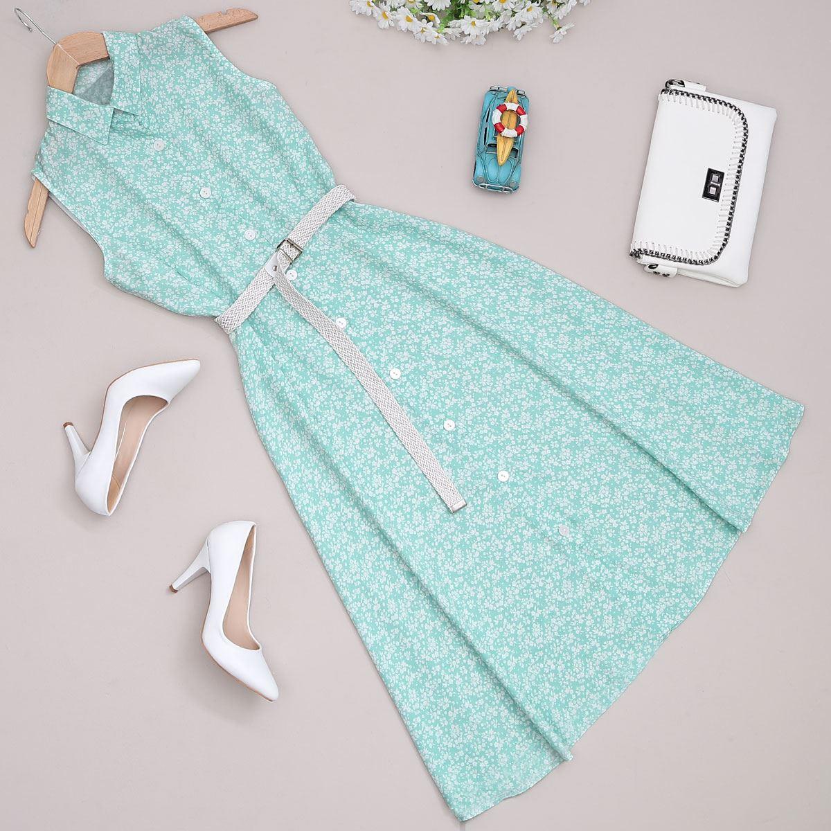 Mint Çiçekli Elbise ELB373