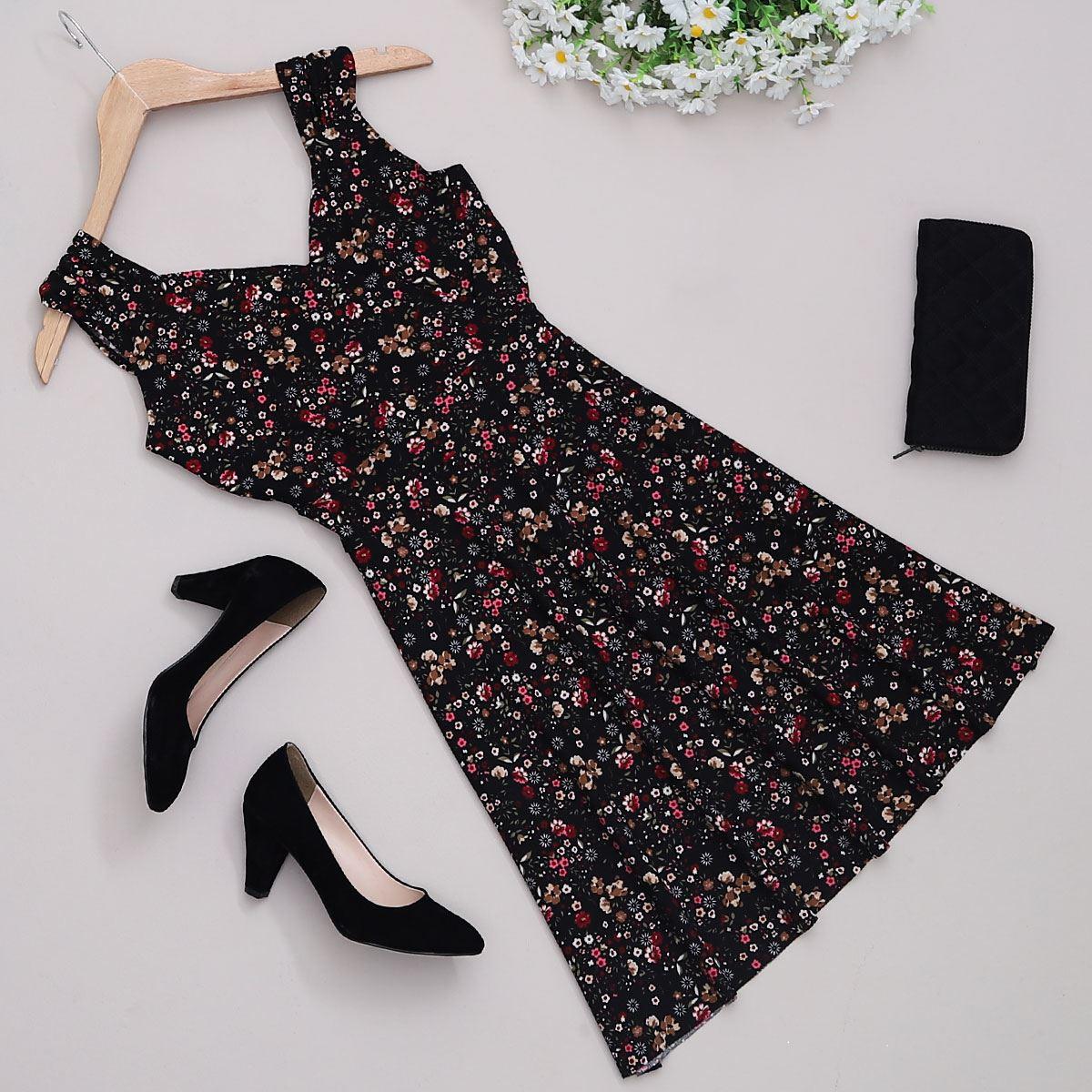 Siyah Çiçekli Elbise ELB374