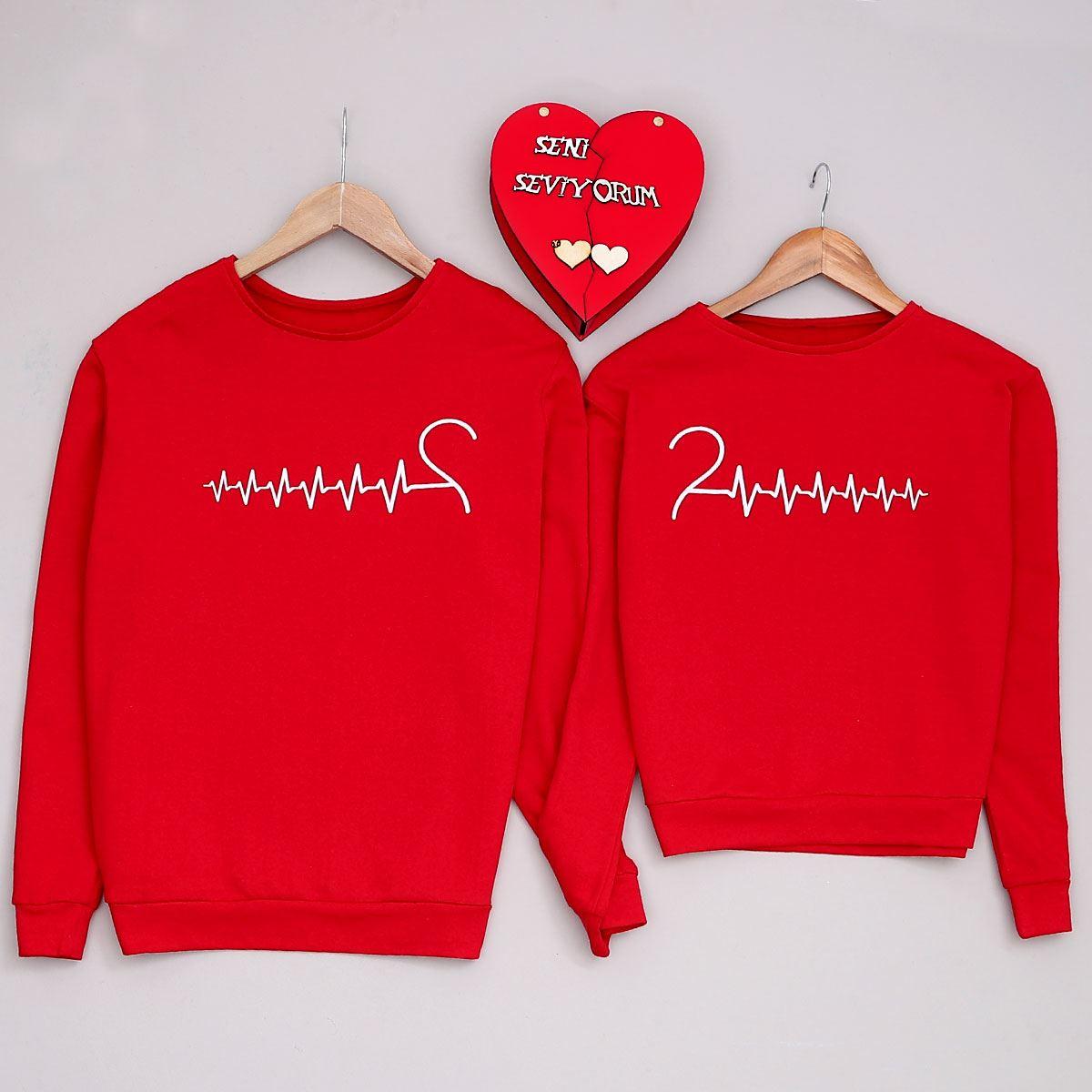 Kalp Atışı Kırmızı Kadın Sevgili Kombini SVG256