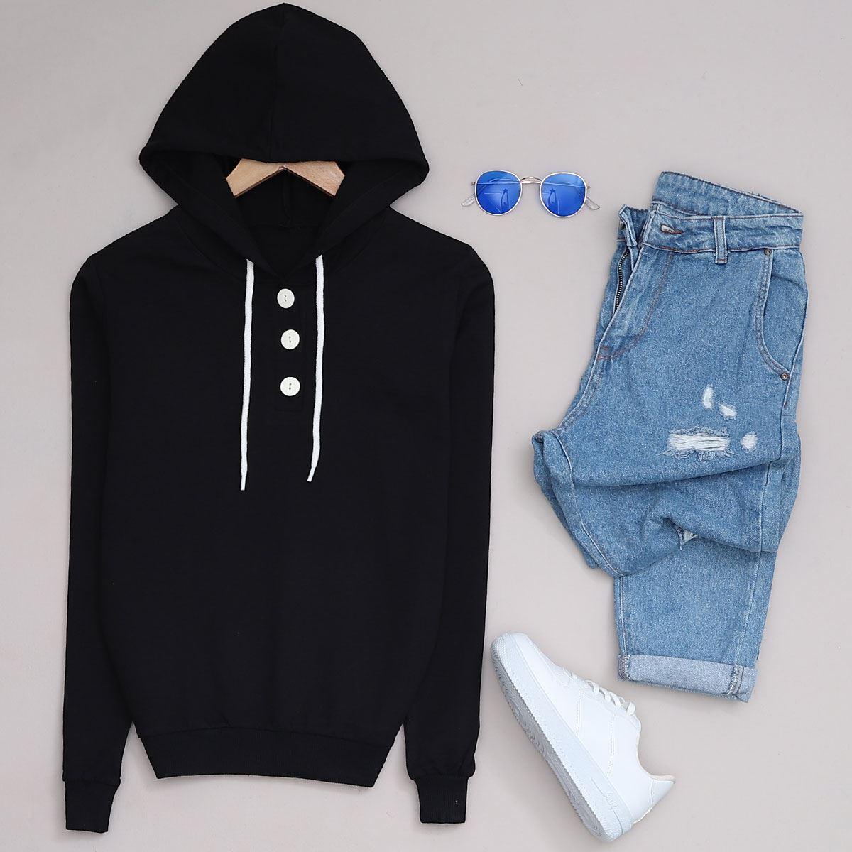 Siyah Kapşonlu Sweat SWT174