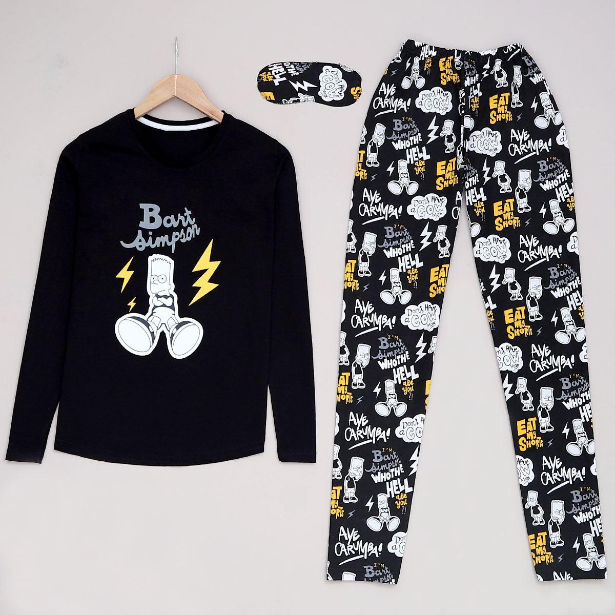Siyah Simpson Pijama Takımı PJM923