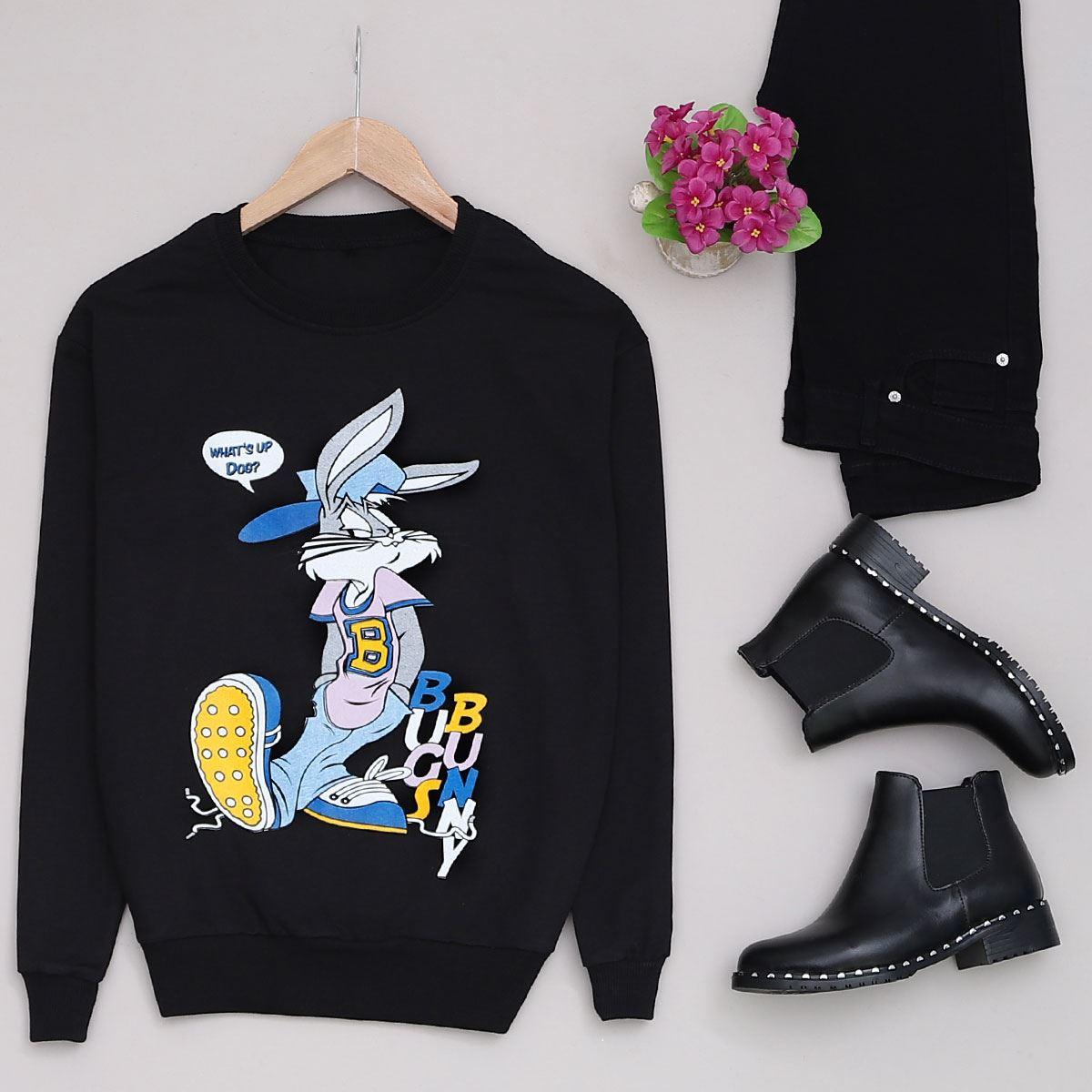 Siyah Rabbit Baskılı Sweat SWT198