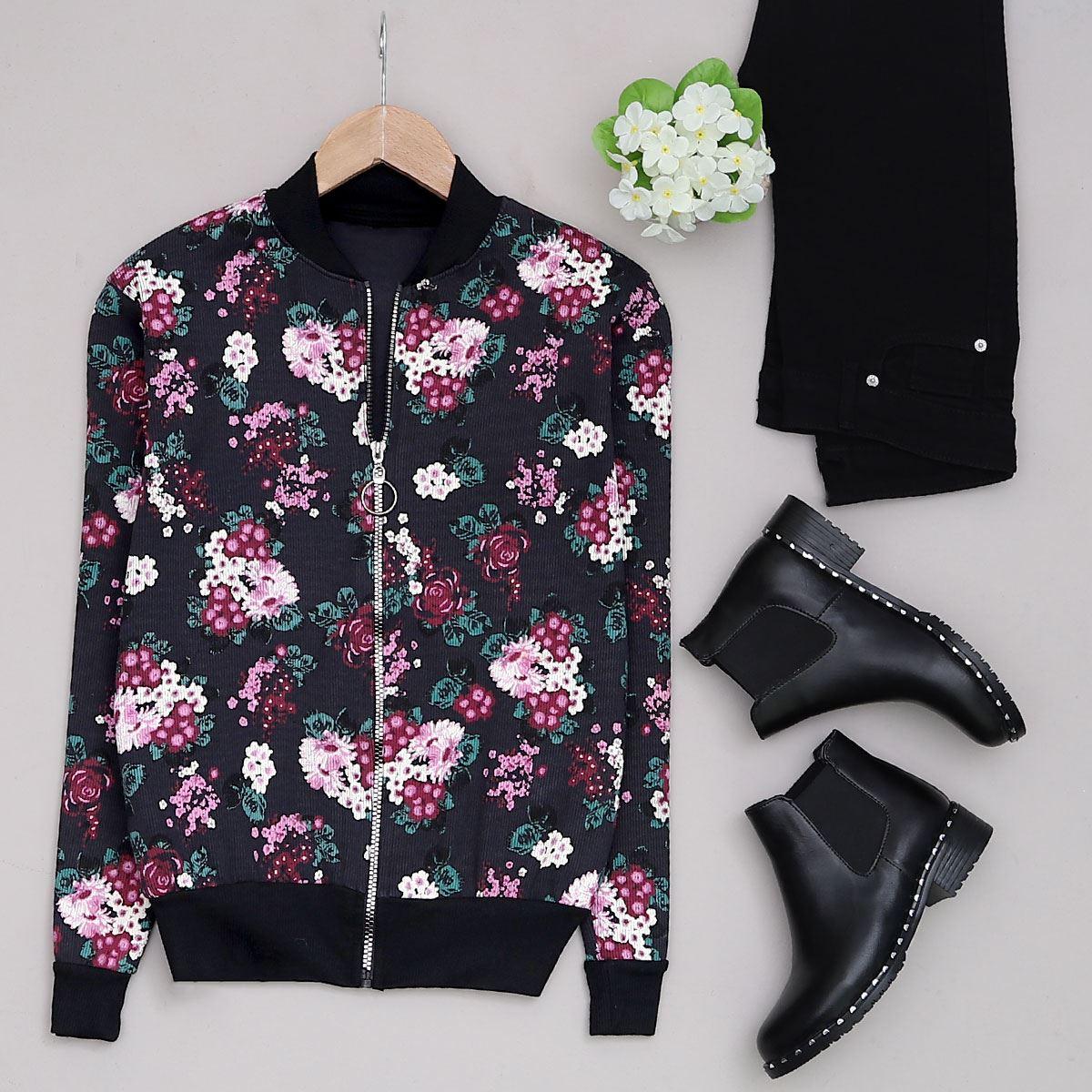 Siyah Çiçekli Ceket CKT132