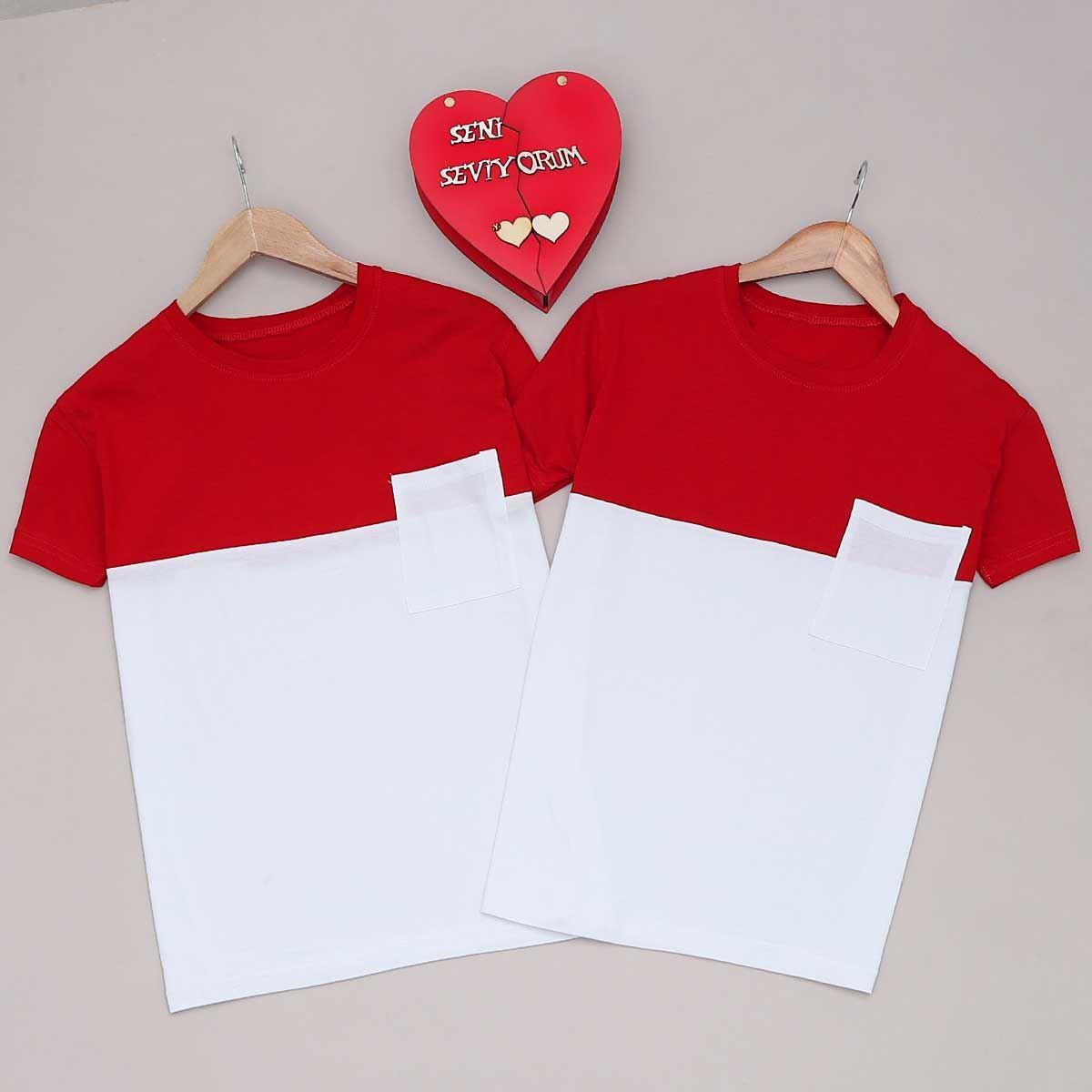 Beyaz T-Shirt  Kadın Sevgili Kombini SVG262