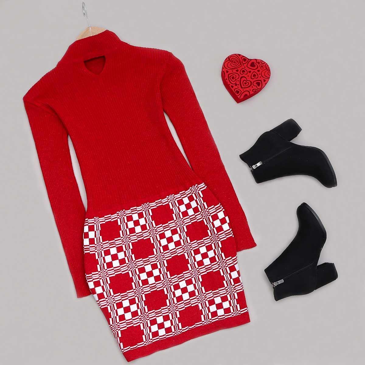 Kırmızı Triko Elbise ELB387