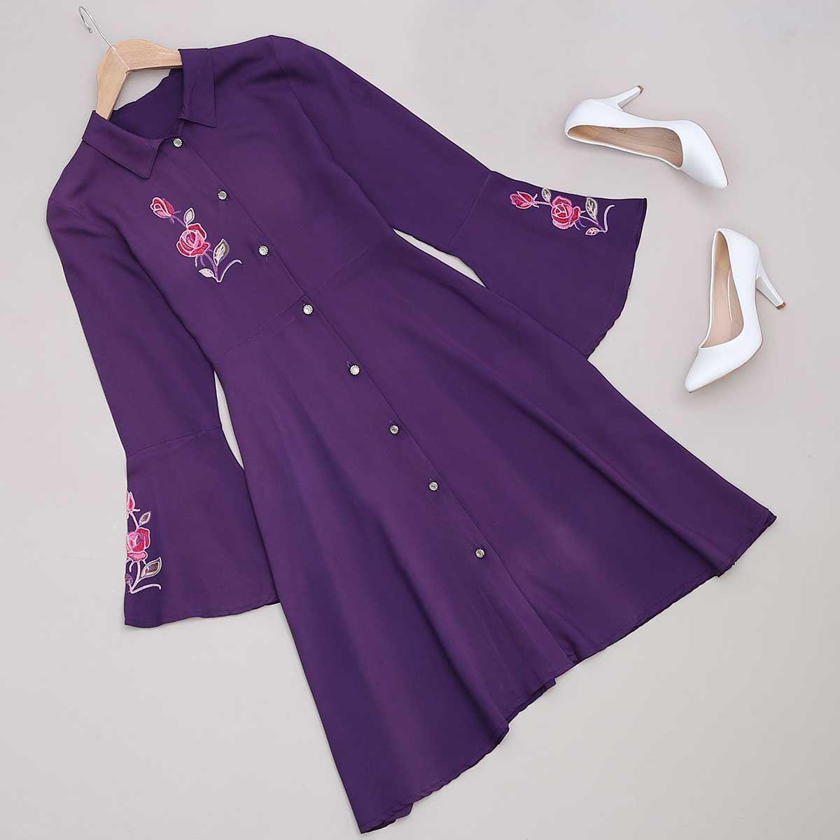 Mor Nakışlı Elbise ELB388