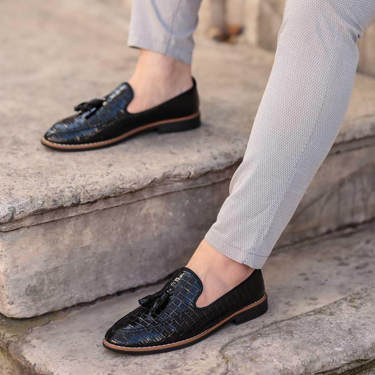 Corcik Siyah Rugan Günlük Ayakkabı AYK195