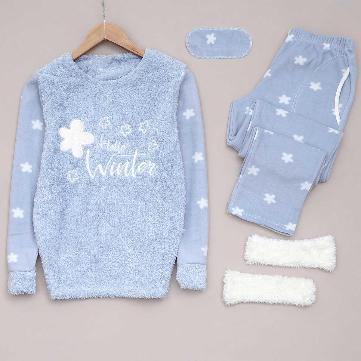 Mavi Patikli Pijama Takımı PJM938