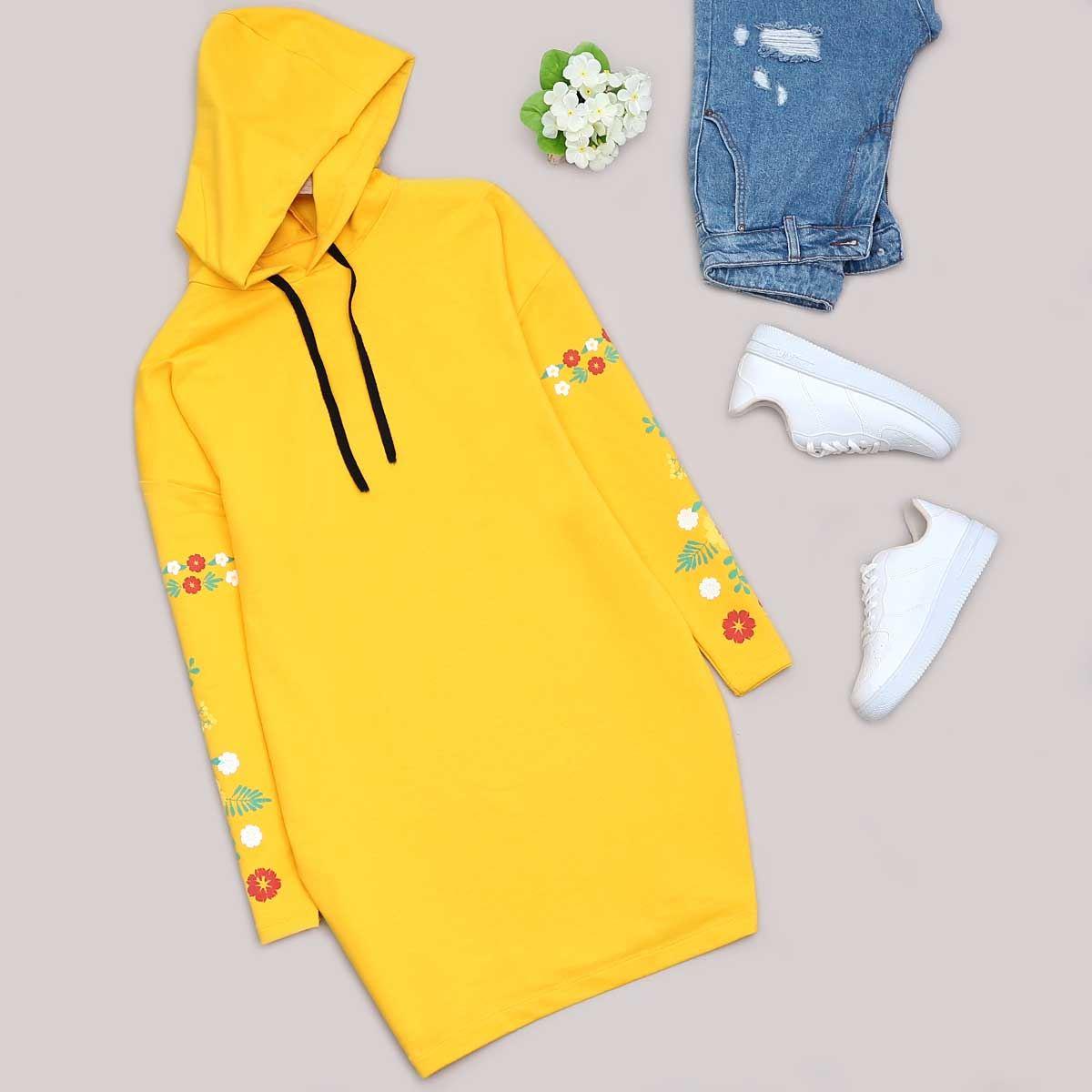 Sarı  Çiçekli Sweat Tunik SWT272