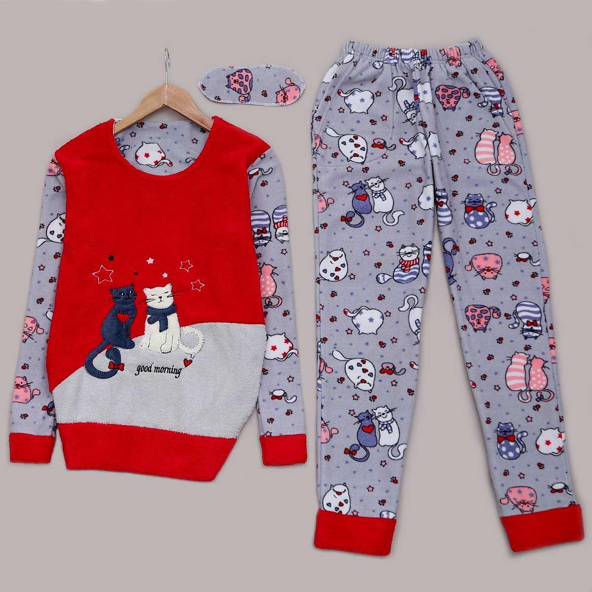 Cat Peluş Pijama Takımı PJM948