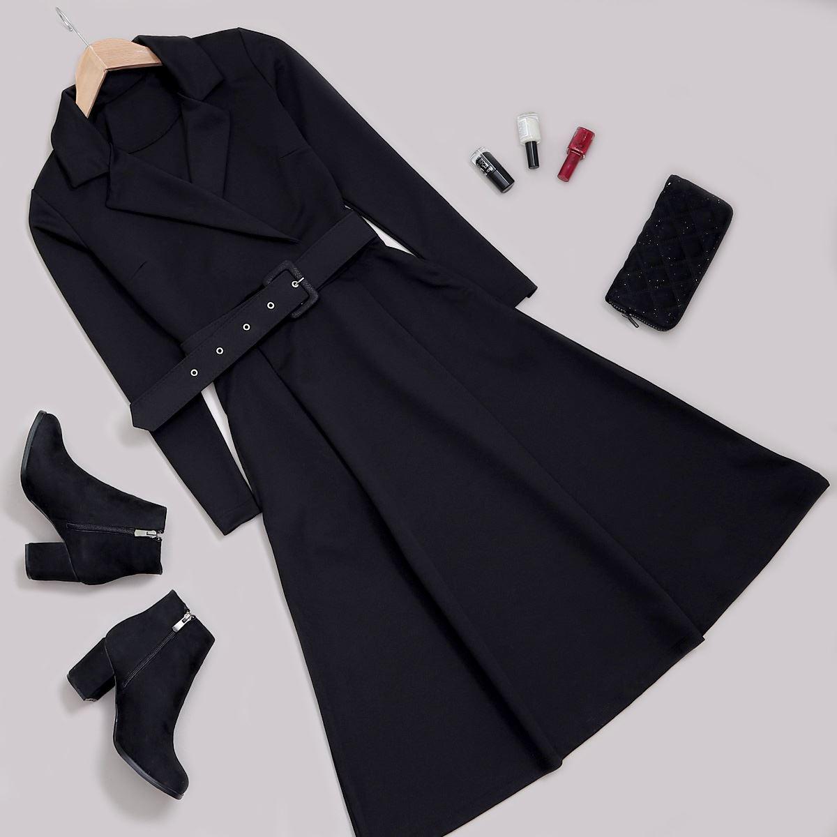 Siyah Kemerli Elbise ELB396