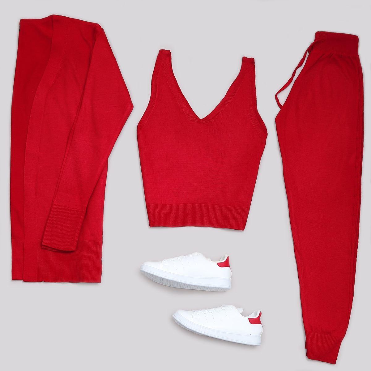 Kırmızı Triko 3'Lü Takım TKM825
