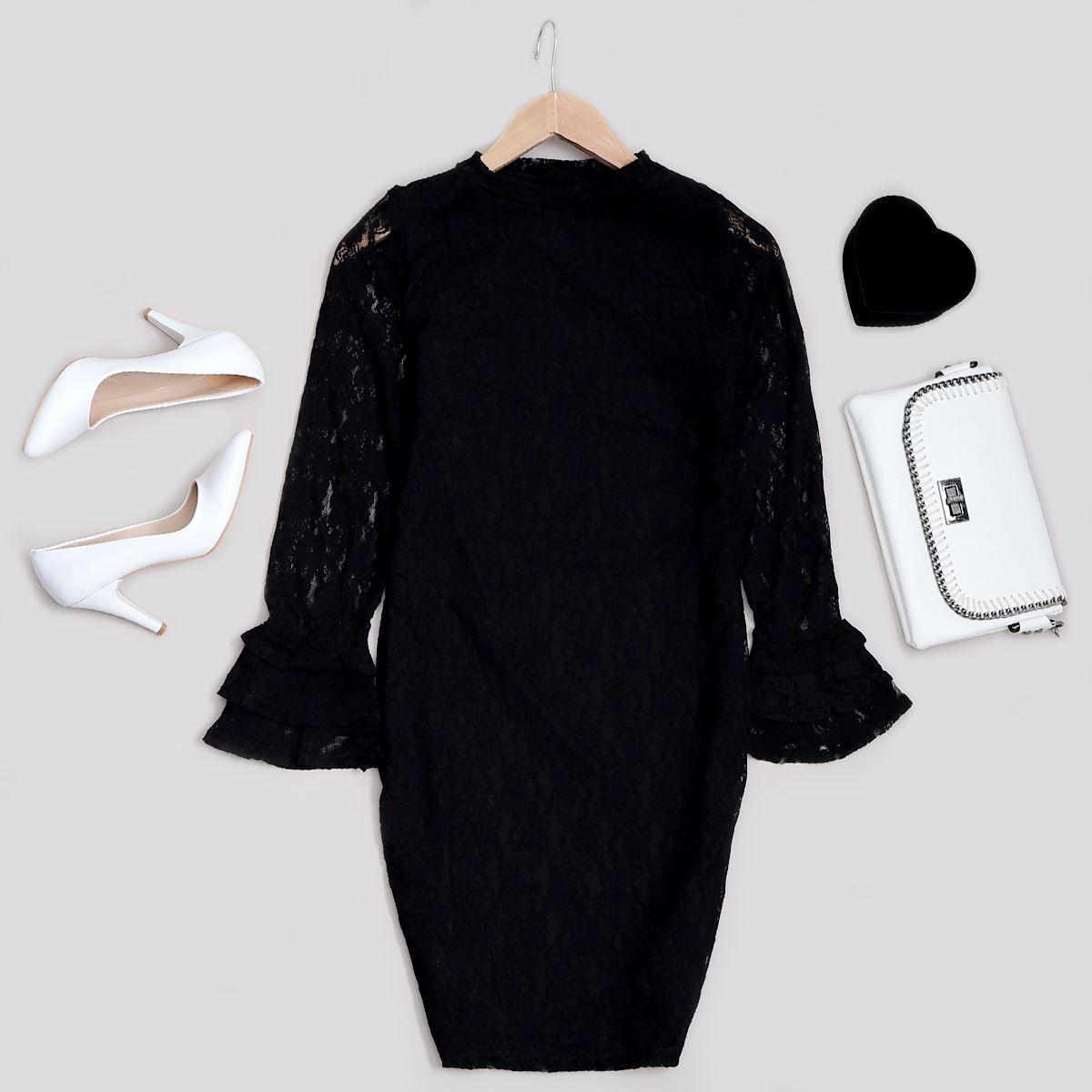Siyah Dantelli Elbise ELB302