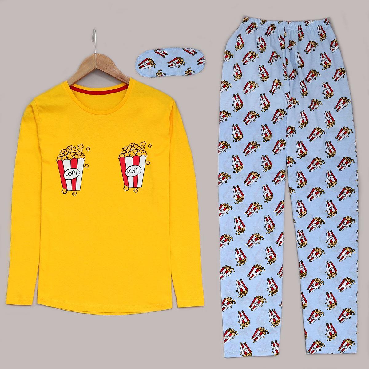 Popcorn Sarı Pijama Takımı PJM992