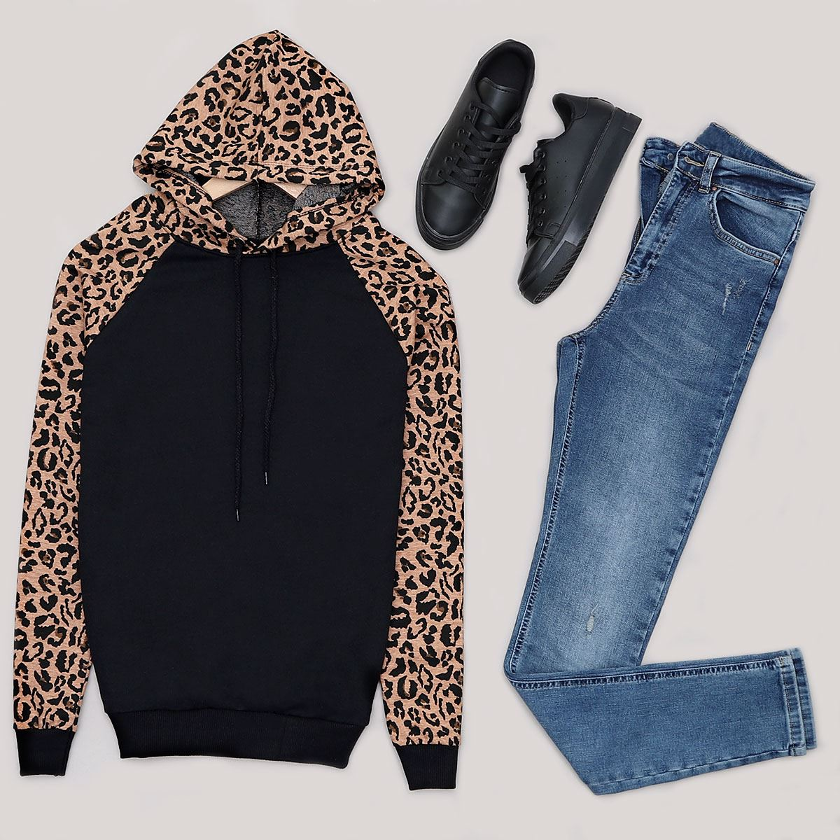 Siyah Leopar Sweat SWT340
