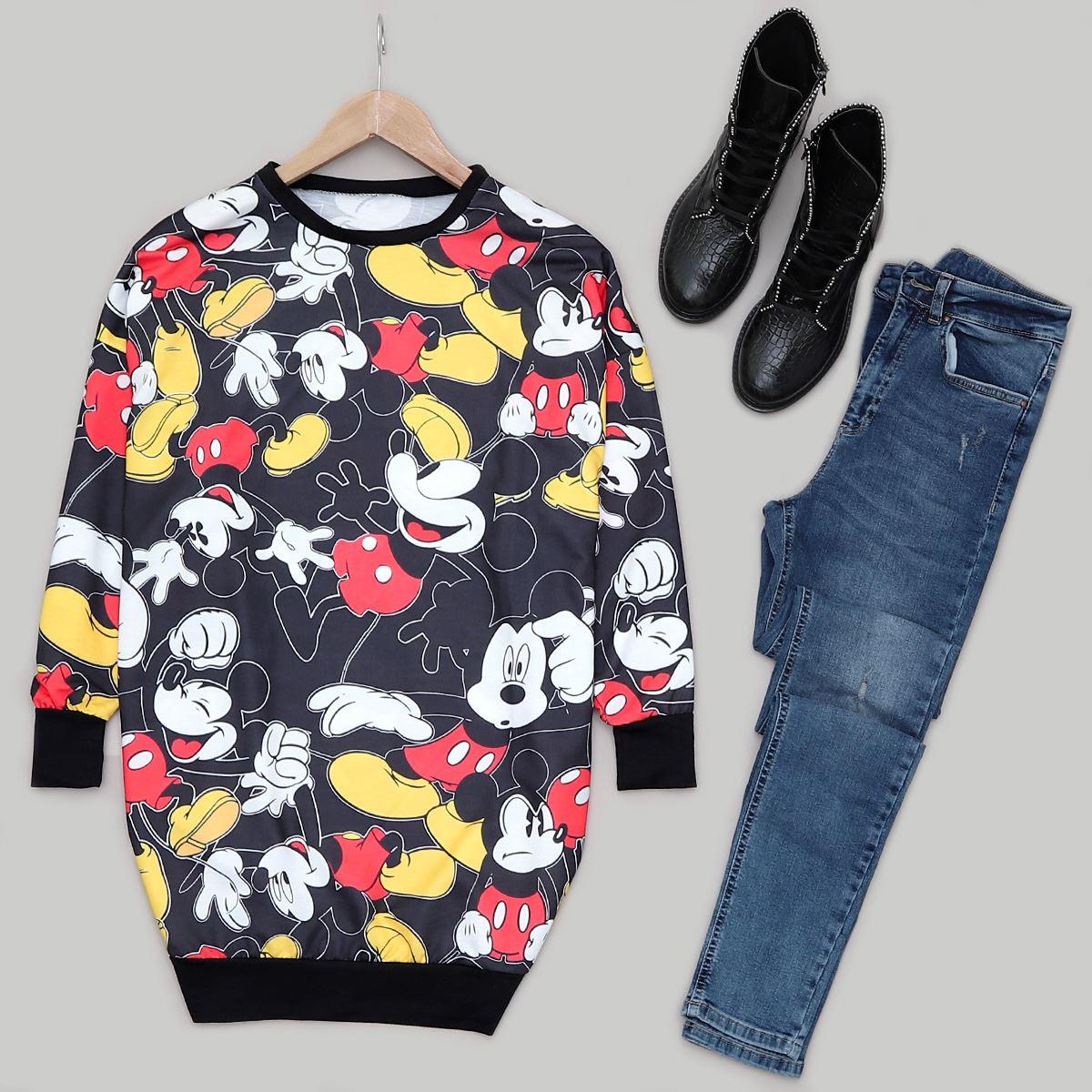 Siyah Mickey Sweat SWT347
