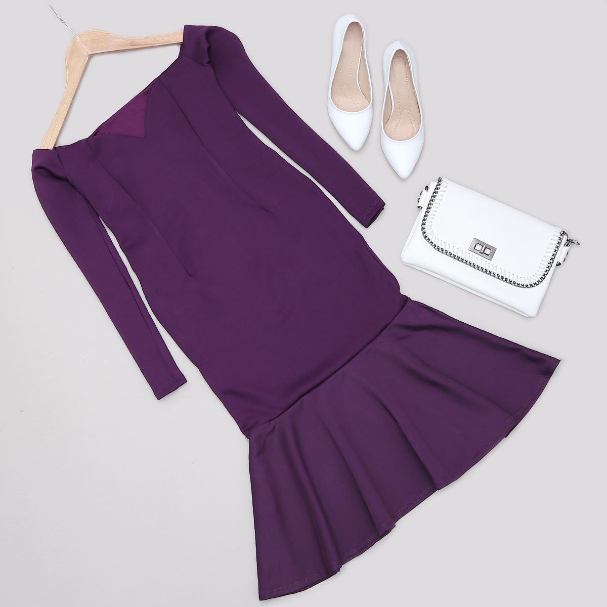 Mor Volanlı Elbise ELB400