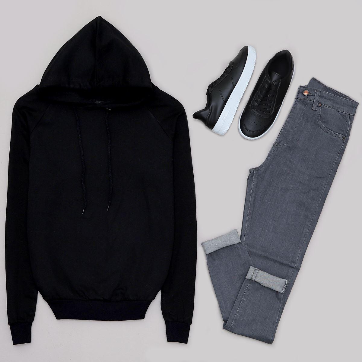 Siyah Kapşonlu Sweat SWT353