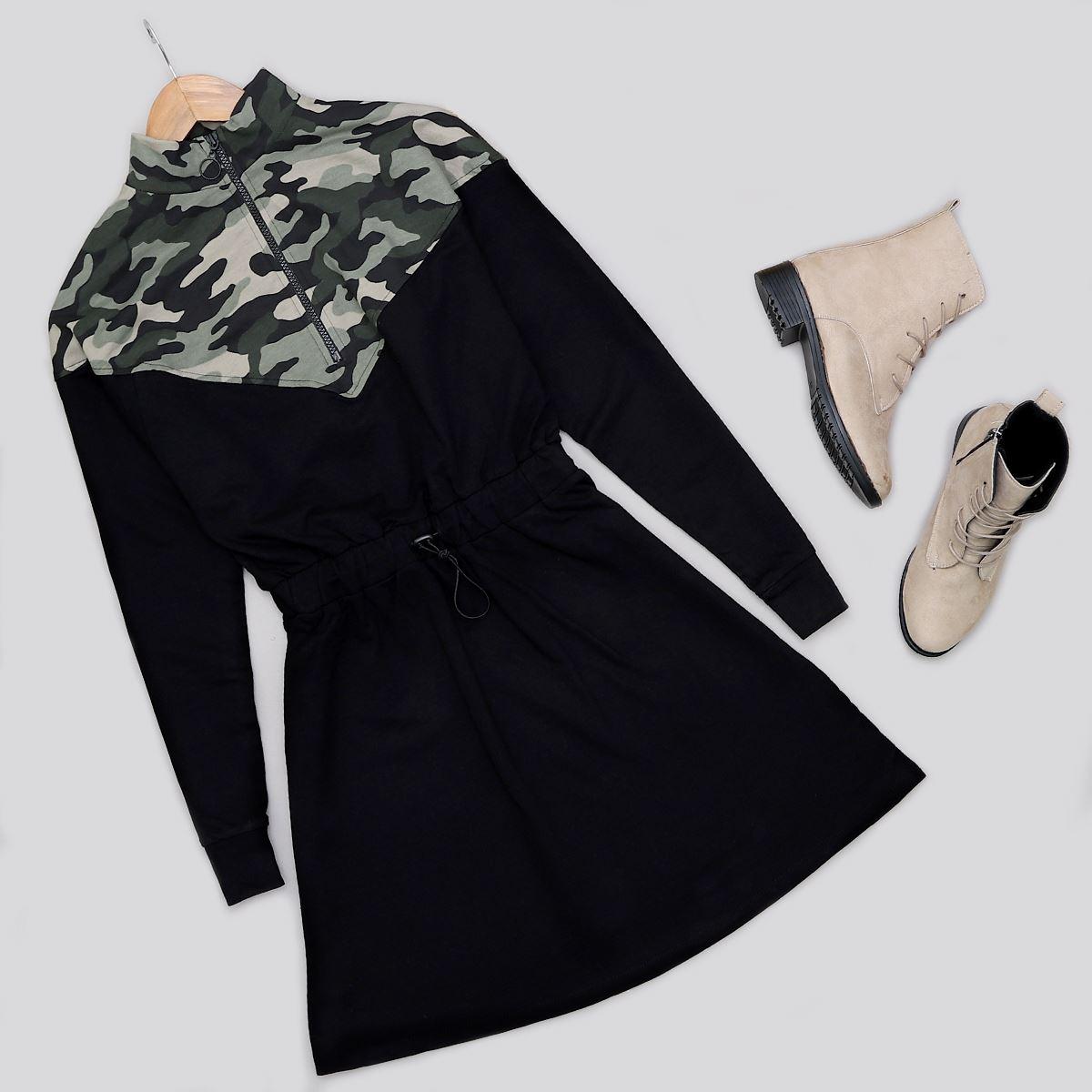 Siyah Kamuflaj Desenli Elbise ELB404