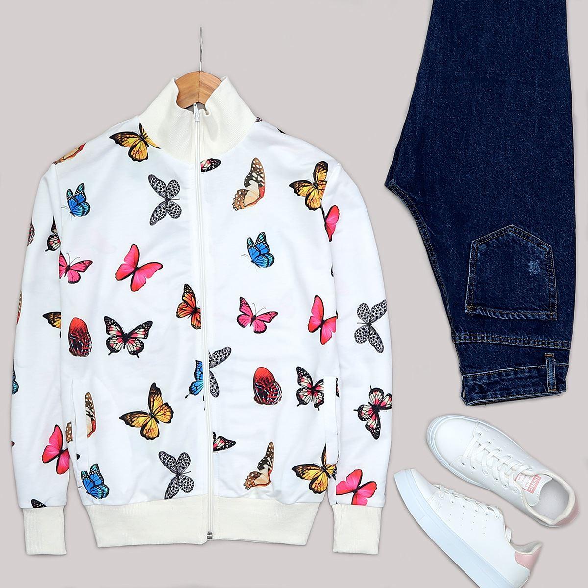Beyaz Kelebek Baskılı Ceket CKT178