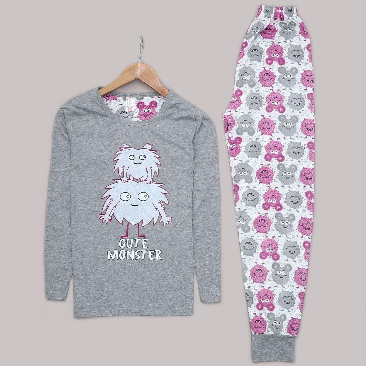 Gri Baskılı Pijama Takımı PJM1007