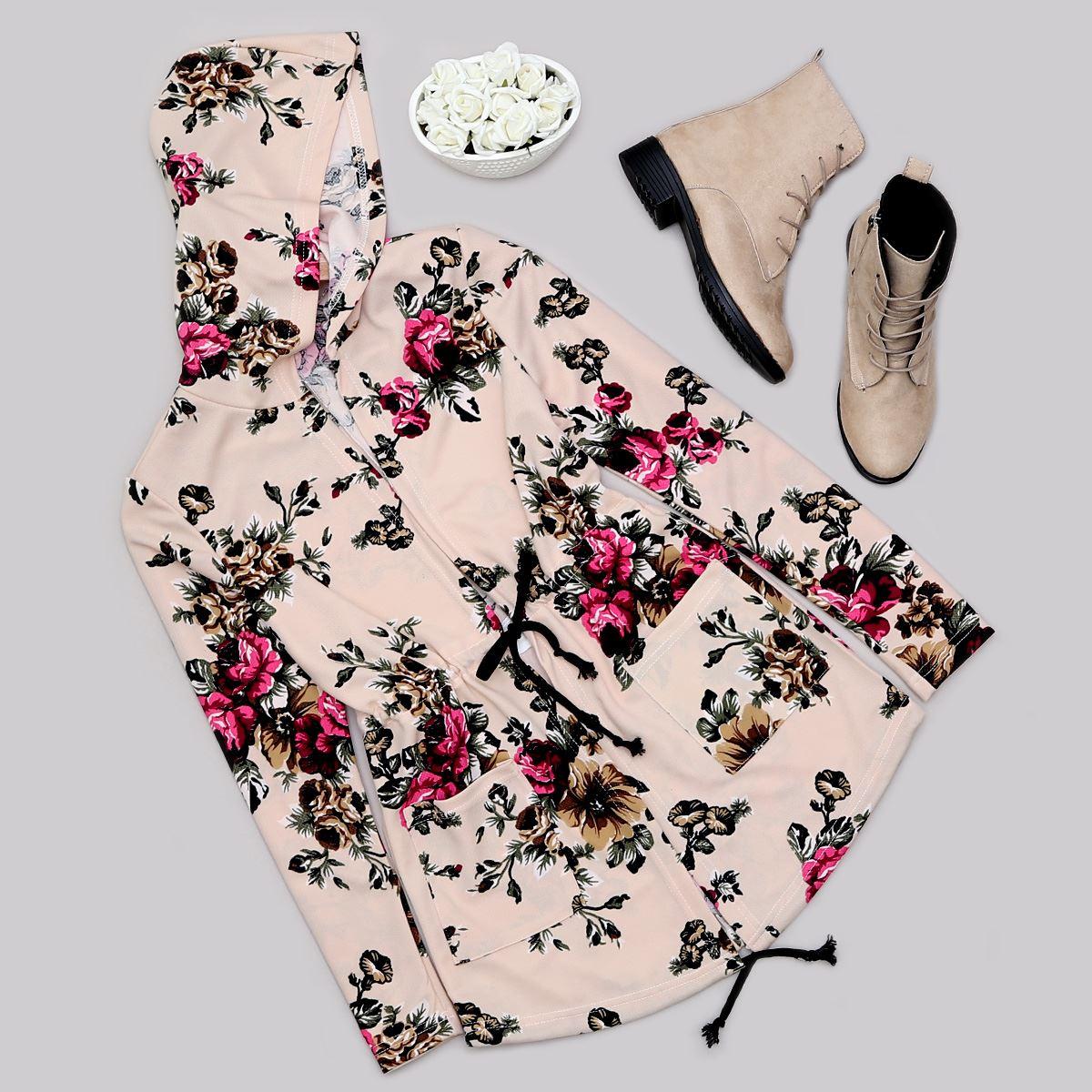 Bej Çiçek Desenli Ceket CKT184