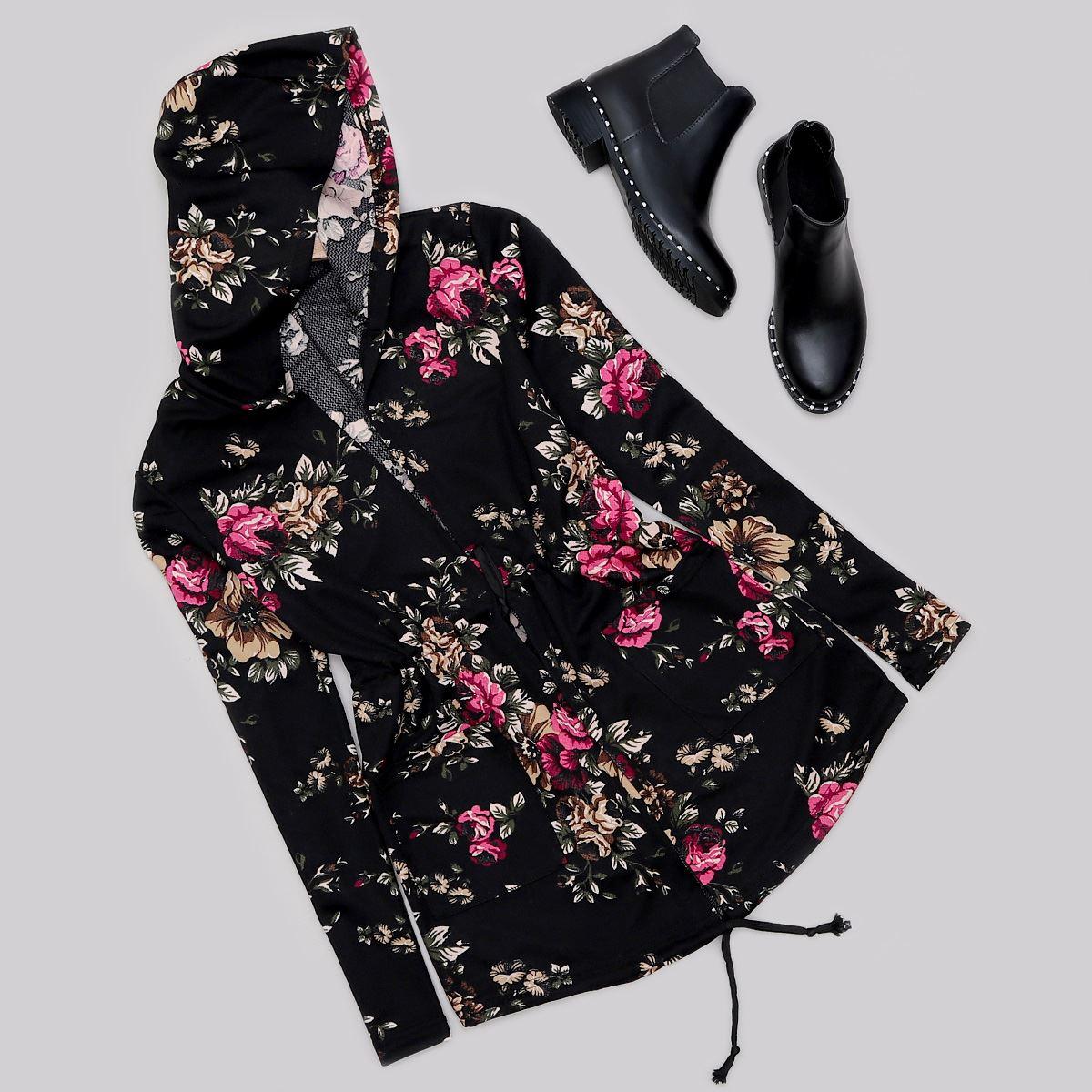 Siyah Çiçek Desenli Ceket CKT185