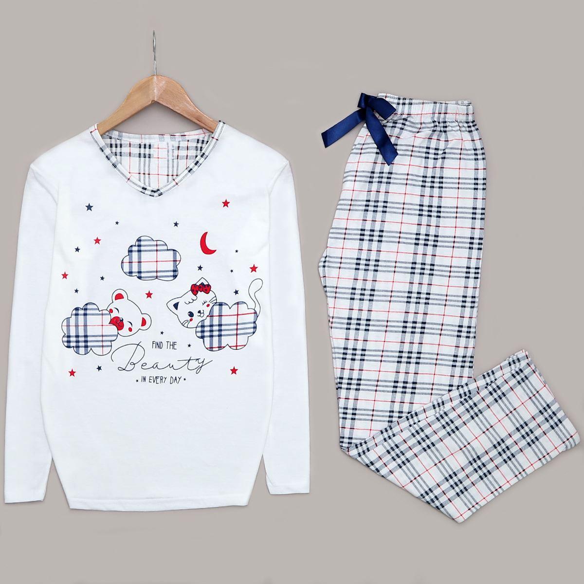 Beyaz Baskılı Pijama Takımı PJM1026