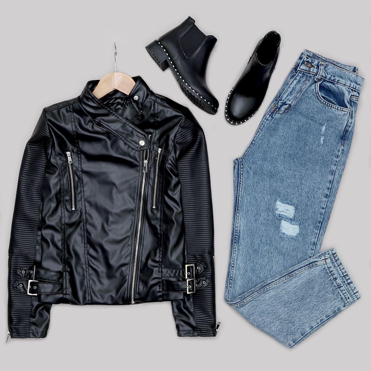 Siyah Fermuarlı Deri Ceket CKT187