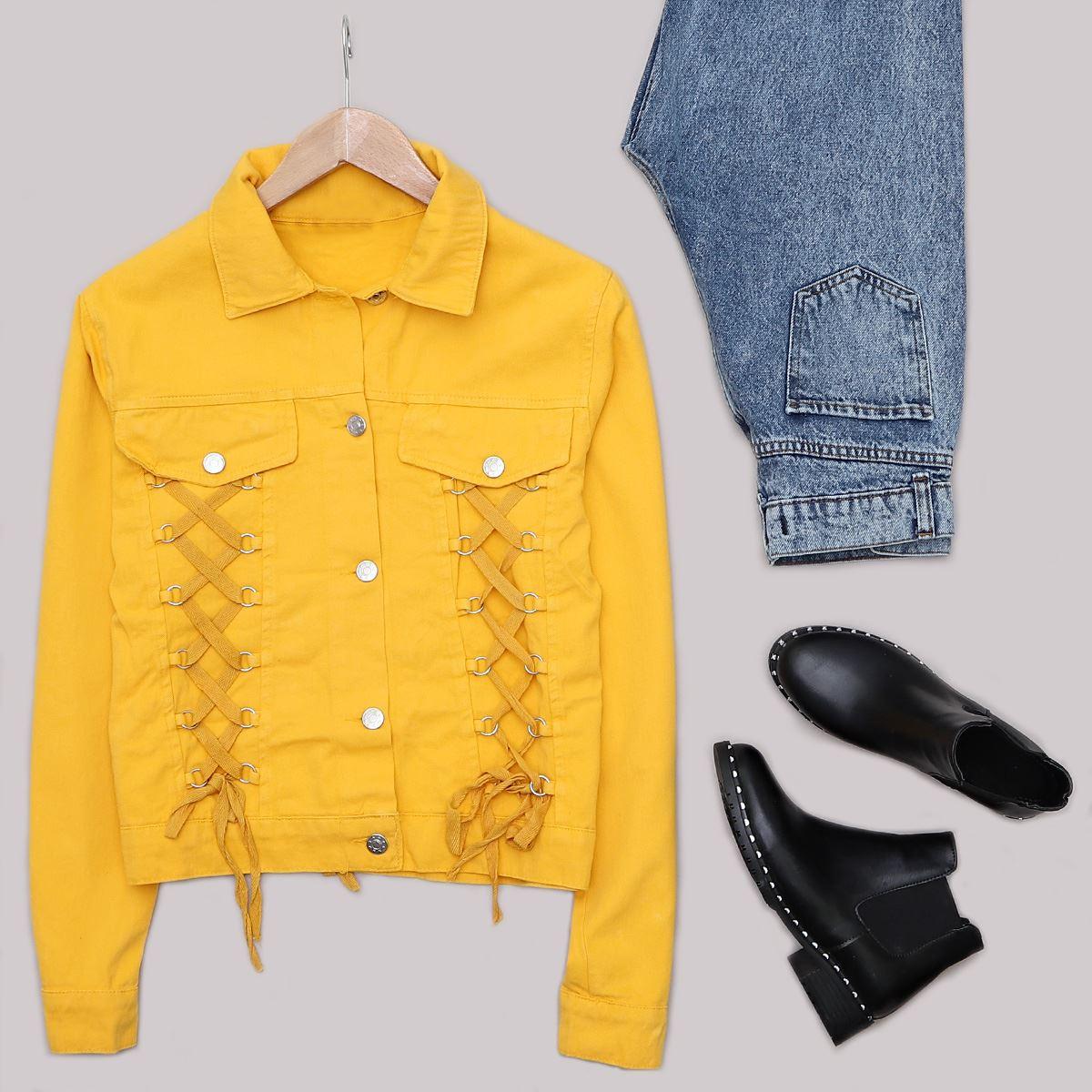 Sarı Bağcık Detaylı Ceket CKT196