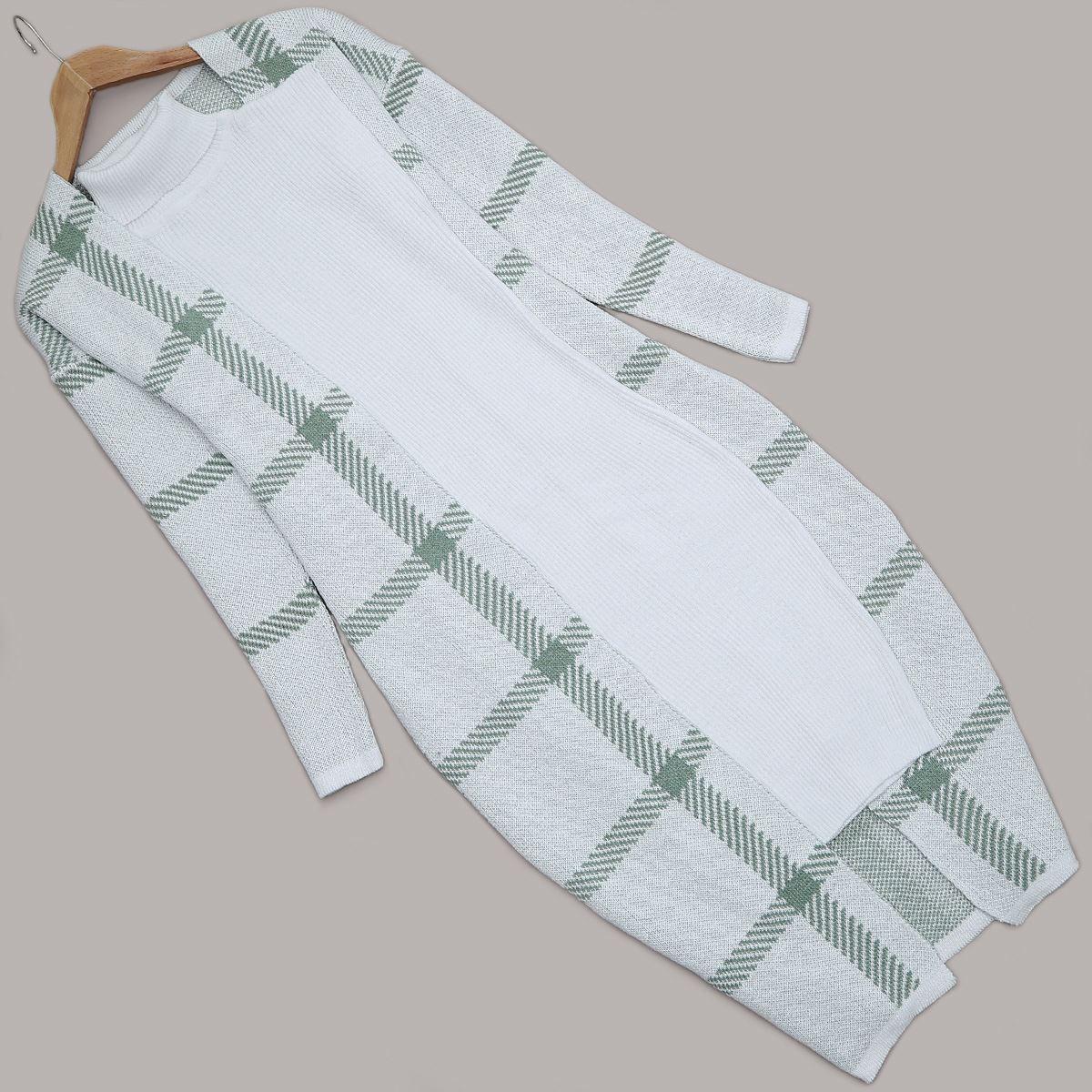 Beyaz Elbise Hırka Takım TKM1084