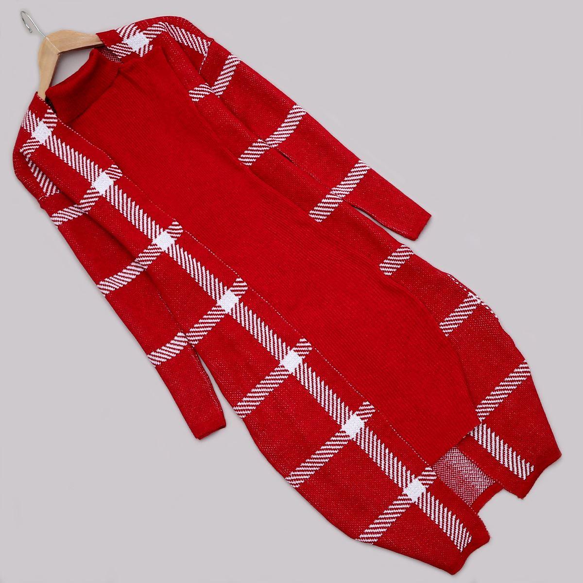 Kırmızı Elbise Hırka Takım TKM1087
