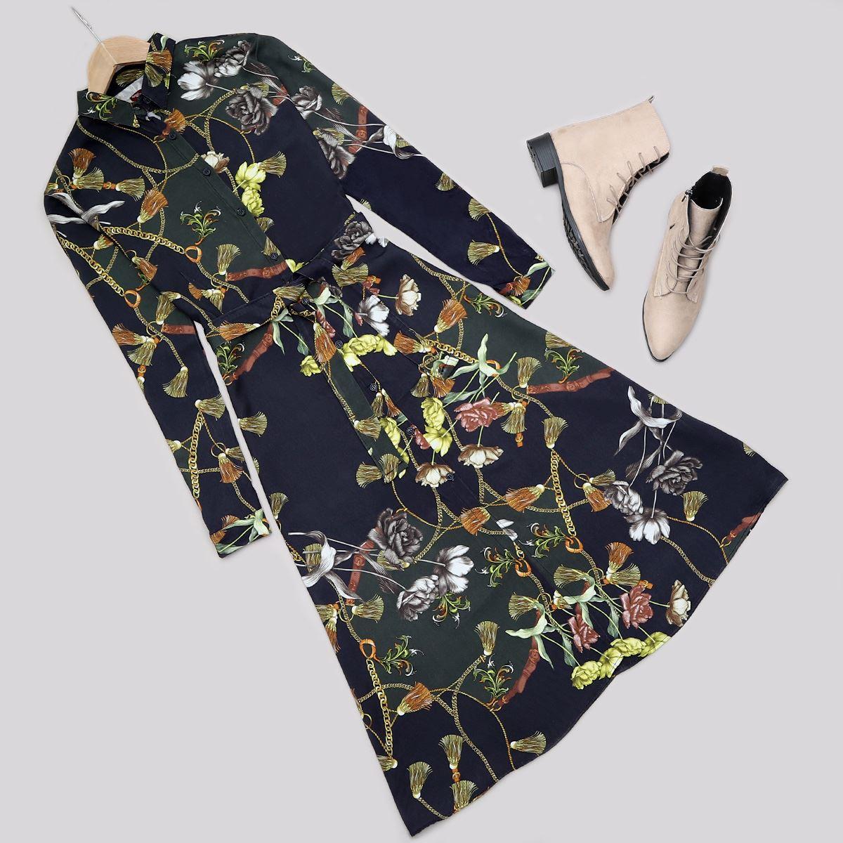 Desenli Düğmeli Elbise ELB407