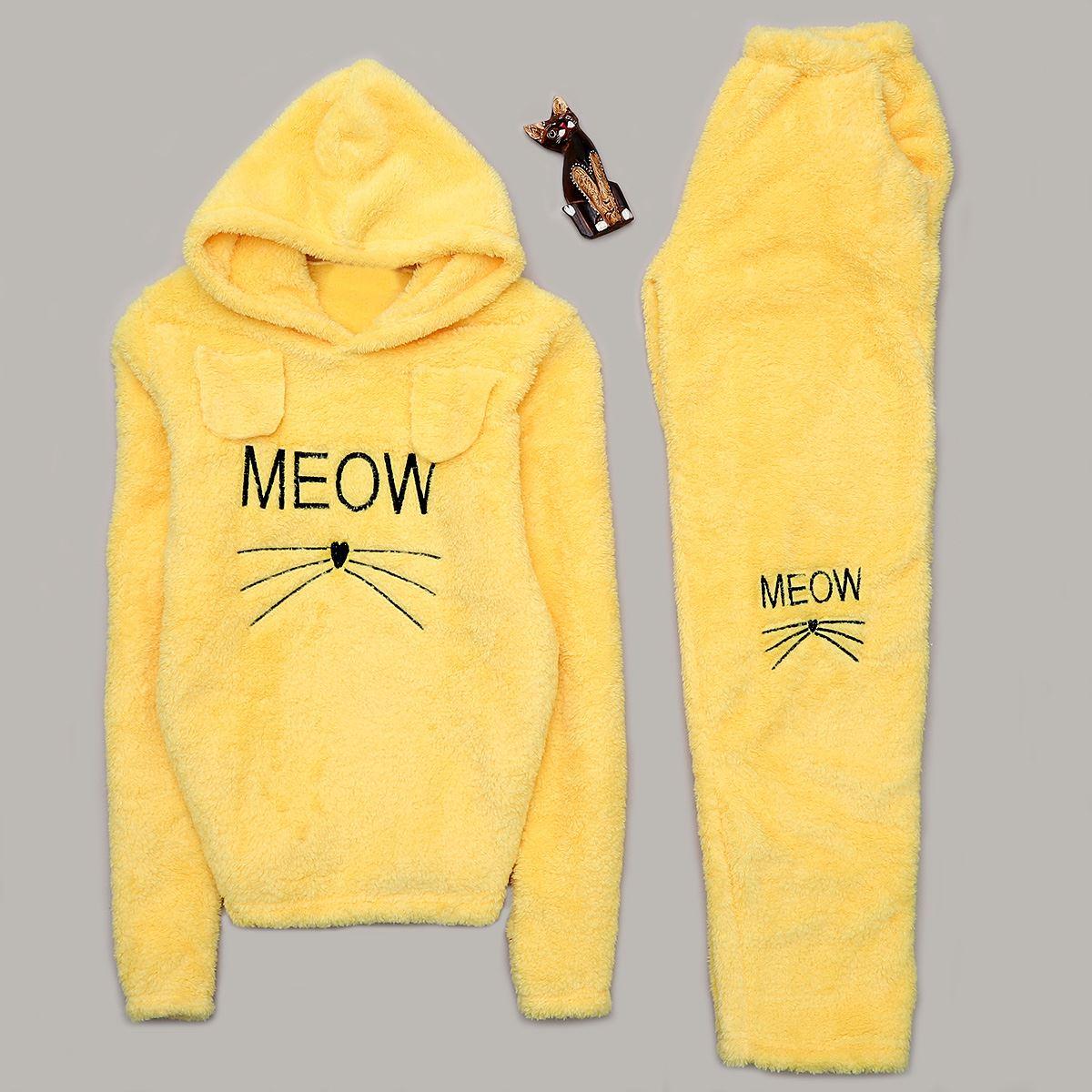 Meow Sarı Peluş Pijama Takımı PJM1044
