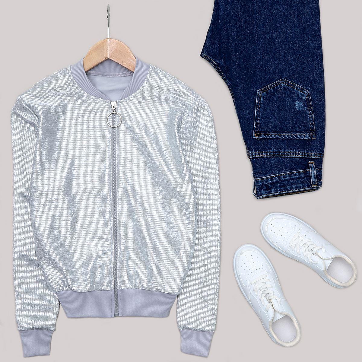 Gümüş Fermuarlı Ceket CKT208