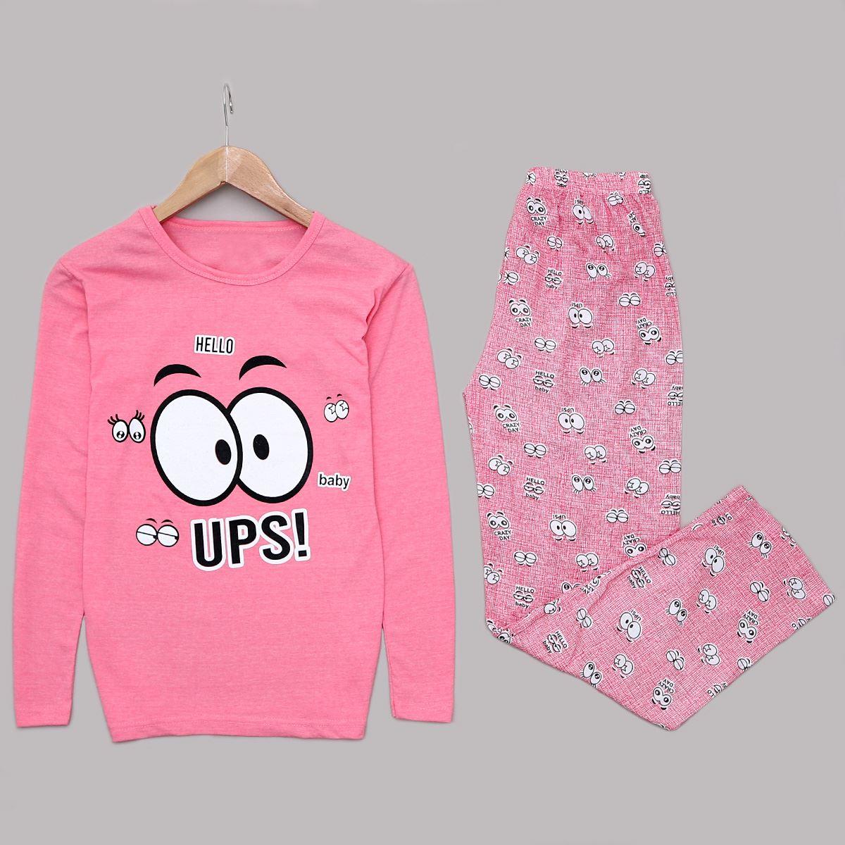 Pembe Baskılı Pijama Takımı PJM1049