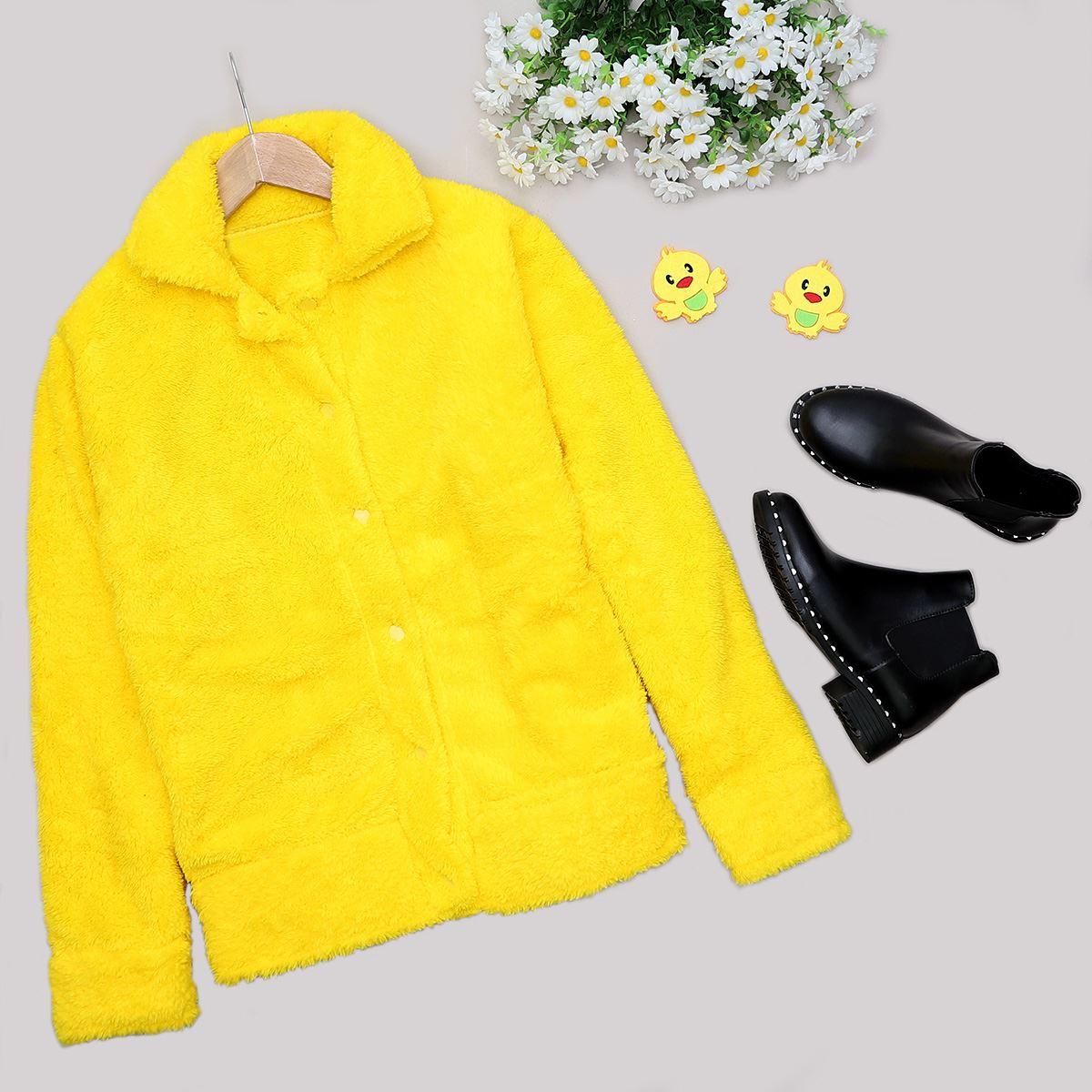 Sarı Peluş Desenli Ceket CKT210