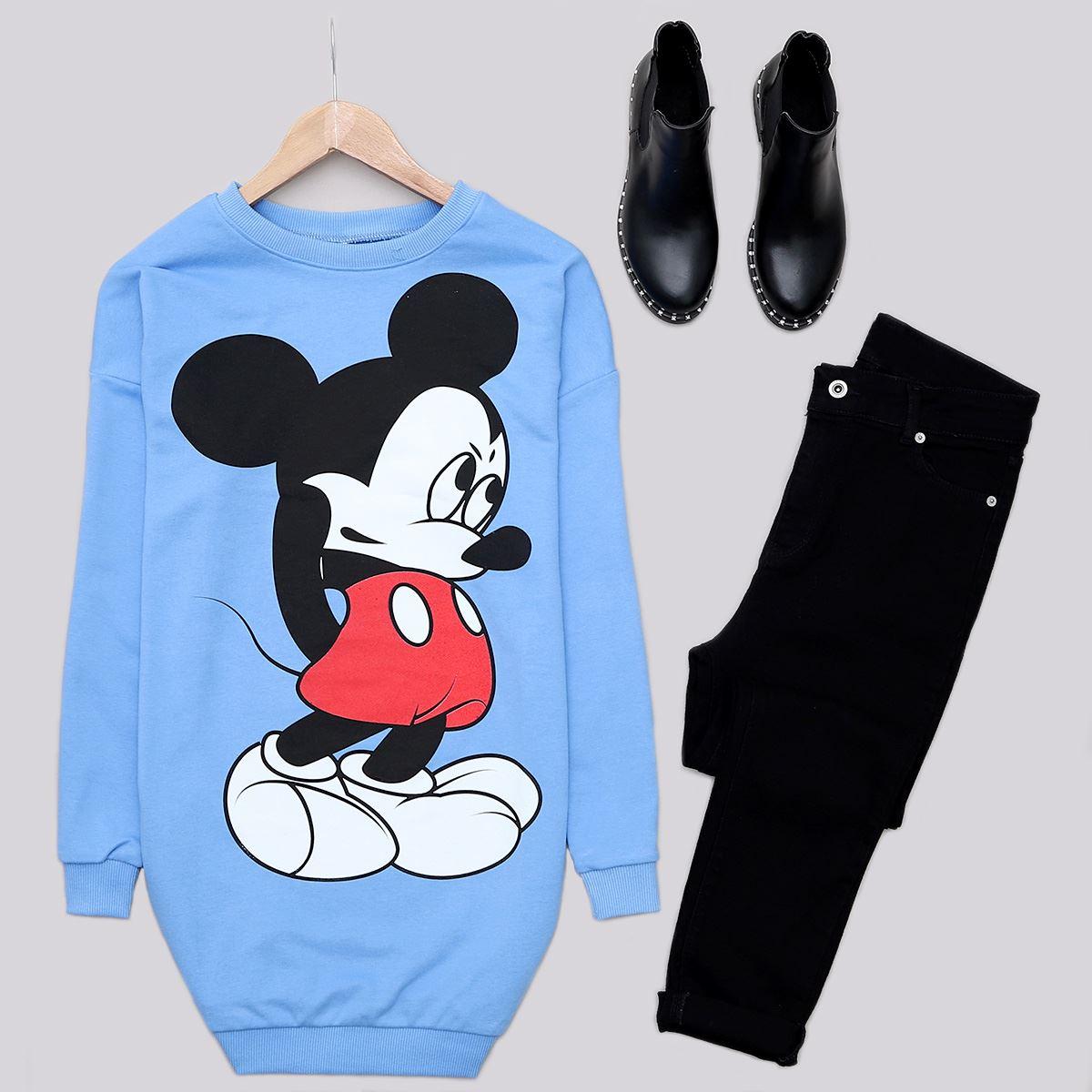 Bebe Mavisi Mickey Sweat Tunik SWT419
