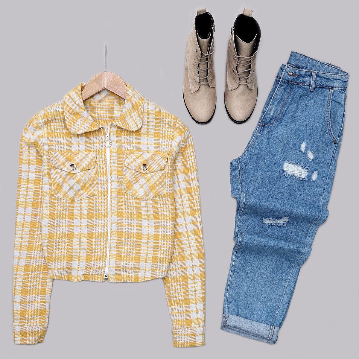 Sarı Ekoseli Ceket CKT219