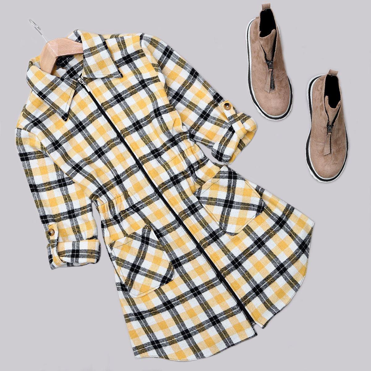 Sarı Ekoseli Ceket CKT223