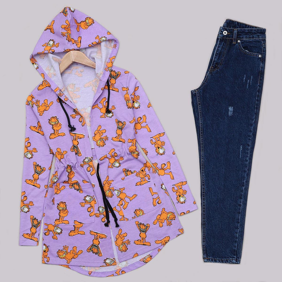 Garfield Baskılı Lila Ceket CKT225