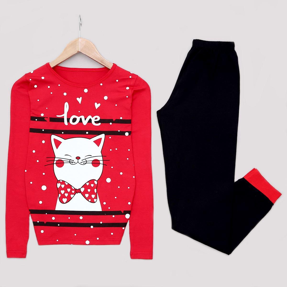 Kırmızı Cat Pijama Takımı PJM1120