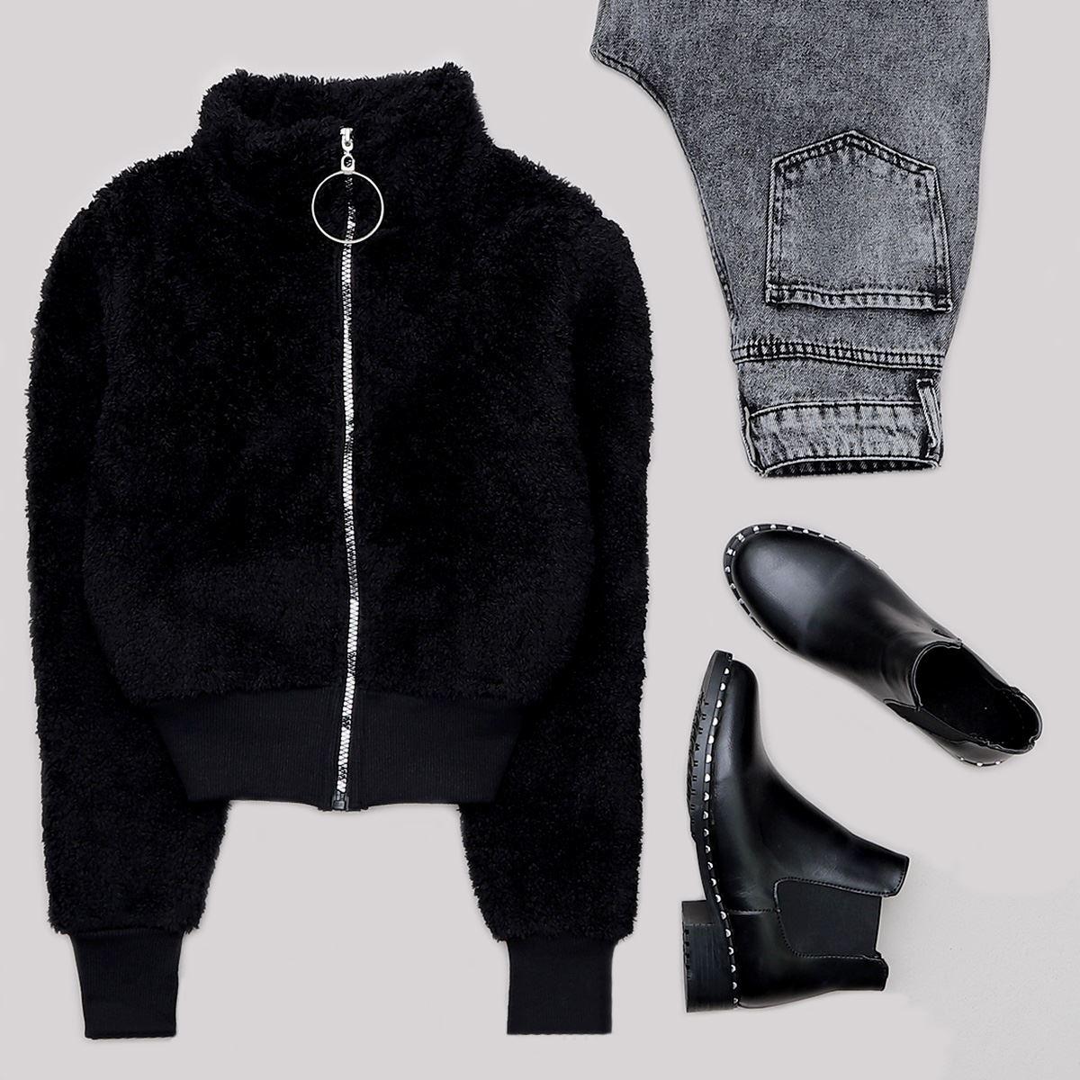 Siyah Peluş Ceket CKT231