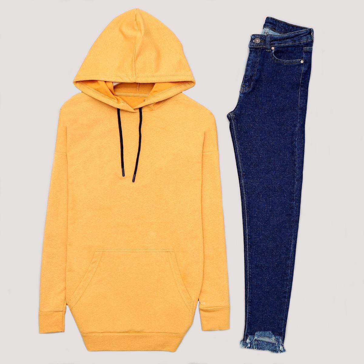 Sarı Kapşonlu Sweat SWT461